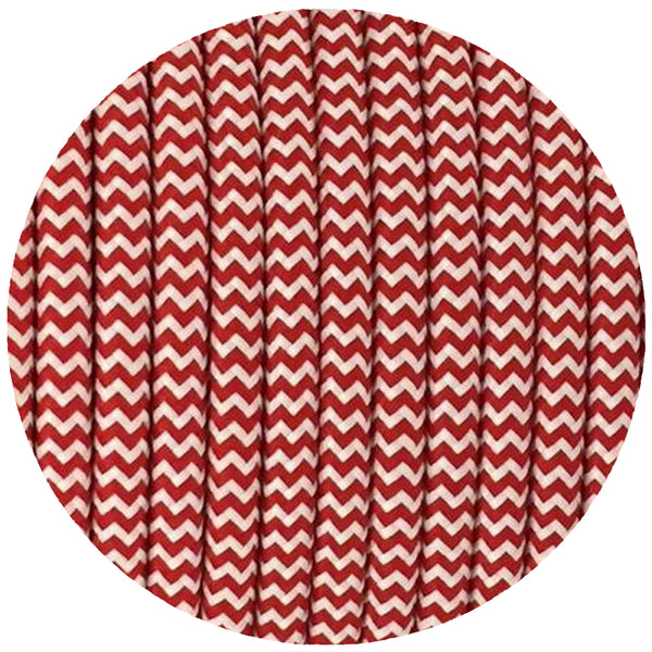 Vintage Red And White Fabric 2 Core Round Italian Braided Cable 0.75mm - Vintagelite