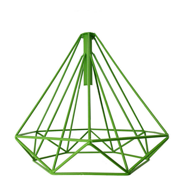 Retro Green Colour Geometric Wire Cage Design Easy Fit Lighting