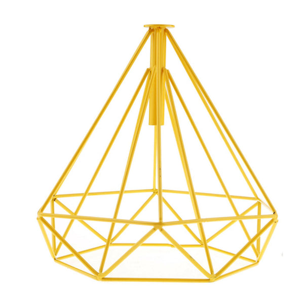 Retro Yellow Colour Geometric Wire Cage Design Easy Fit Lighting