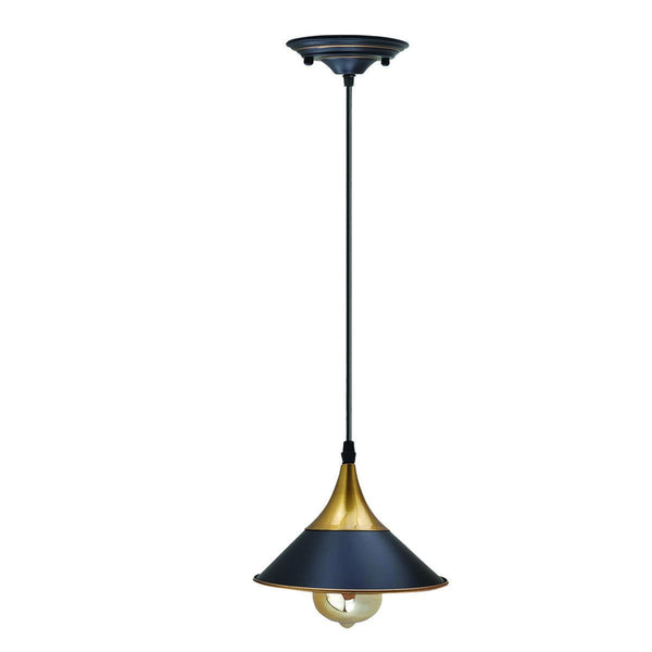 Retro Hanging Lamp Vintage Pendant Light Cone Shape Black