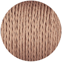 Rose Gold Twisted Vintage fabric Cable Flex0.75mm 3 Core - Vintagelite