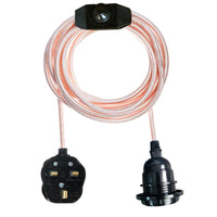 Rose Gold Color Dimmer Switch 4.5m Fabric Flex Cable Plug In Pendant Lamp E27 Holder - Vintagelite