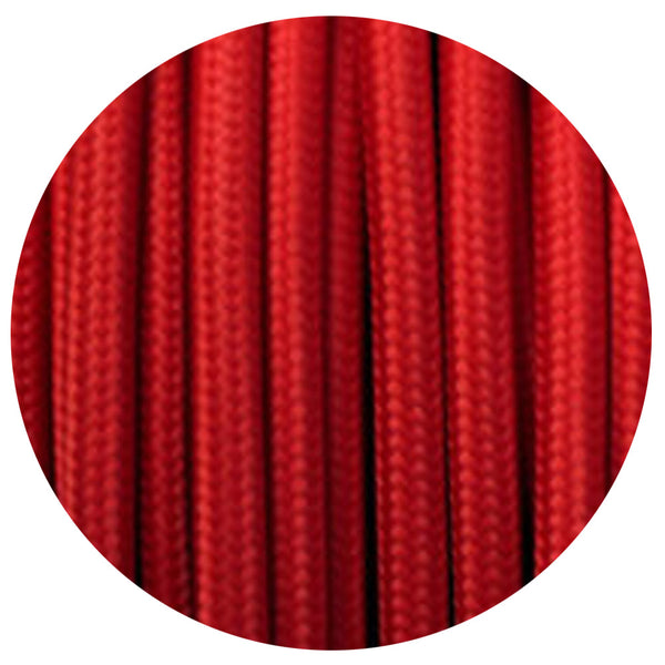 Vintage Red Fabric 3 Core Round Italian Braided Cable 0.75mm - Vintagelite