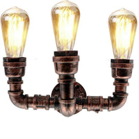 Retro Industrial Wall Lamp Vintage iron Rustic Red Water pipe Lamps E27 Loft Light - Vintagelite