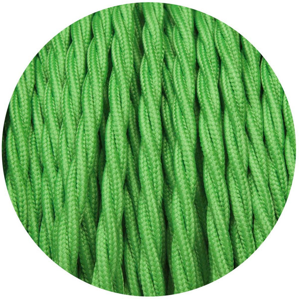 Light Green Twisted Vintage fabric Cable Flex0.75mm 2 Core - Vintagelite