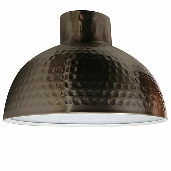 Satin Nickel Retro Light Shades Modern Ceiling Pendant Lampshades Metal Easy Fit - Vintagelite
