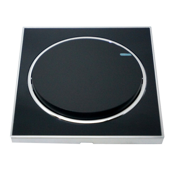 Screwless Flat plate Wall light switches Black Round 1 Gang - Vintagelite