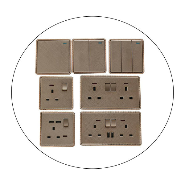 Screwless Textured Gold Light Switches & Socket - Vintagelite