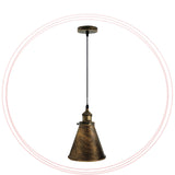 Ceiling Pendant Shade Rustic Cone Hanging Lights Brushed Copper