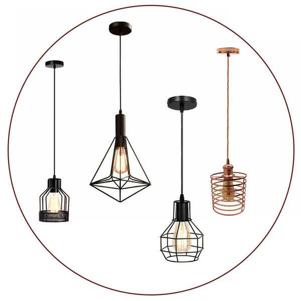 Vintage Industrial Retro Loft Cage Ceiling Lamp Shade Pendant Light