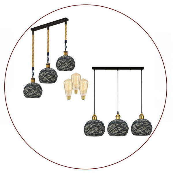 Vintage Rattan 3 Head Rattan Hemp Rope Ceiling Shade Pendant Lighting Black Finish Chandelier