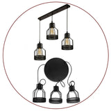 3 Way Ceiling Pendant Cluster Light Fitting Cage Style Light UK