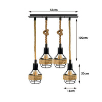 Vintage Industrial E27 4 Heads Hemp Rope Pendant Ceiling Light Retro Decor - Vintagelite