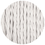 White Twisted Vintage fabric Cable Flex0.75mm 3 Core - Vintagelite