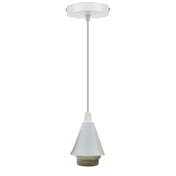 Light Pendant Fitting Ceiling Rose E27 White Suspension Fabric Corded Set - Vintagelite