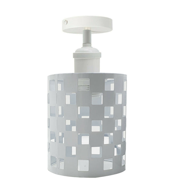 White Square E27 Ceiling Light Retro Flush Mount Ceiling Lampshade Fitting