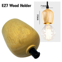 Wood Holder E27 Socket Vintage Industrial Lighting Lamp Bulb with Cord Grip - Vintagelite