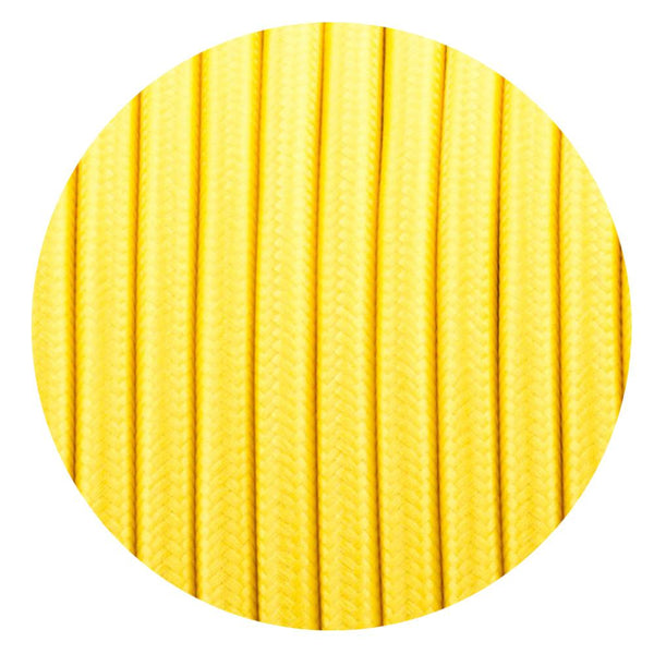 Vintage Yellow Fabric 3 Core Round Italian Braided Cable 0.75mm - Vintagelite