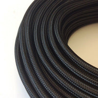 Vintage Black Fabric 3 Core Round Italian Braided Cable 0.75mm - Vintagelite