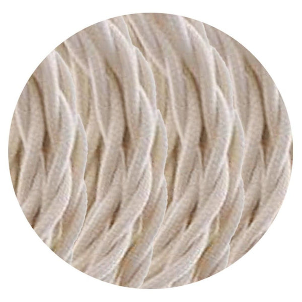 Vintage Cream Twisted Vintage fabric Cable Flex 0.75mm 2 Core - Vintagelite