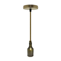 Green Brass Bottle Type Bulb Holder Pendant Light - Vintagelite