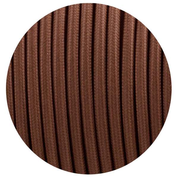Vintage Brown Fabric 2 Core Round Italian Braided Cable 0.75mm - Vintagelite