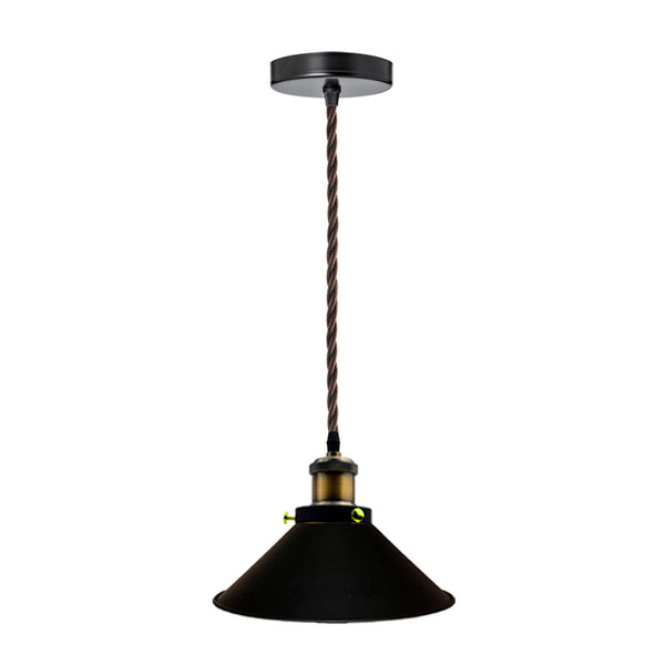 Vintage_Flat_Black_Pendant_Light_Lamp_Shades