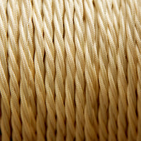 Light Gold Twisted Vintage fabric Cable Flex0.75mm 2 Core - Vintagelite