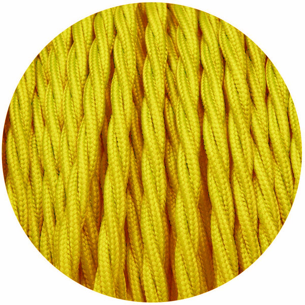 Yellow Twisted Vintage fabric Cable Flex0.75mm 3 Core - Vintagelite