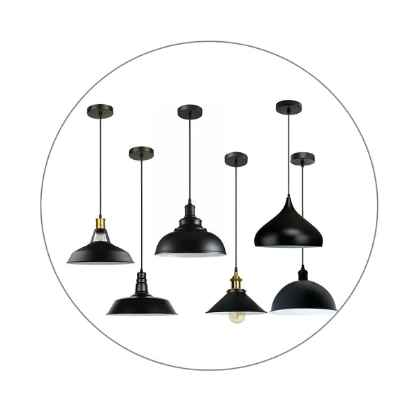 Pendant Vintage Industrial Ceiling Light Retro Black Style Metal Shade Lamp Kit
