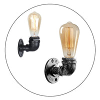 Vintage Industrial Water Pipe Lamp Retro Light Steampunk Wall Sconce + Free Bulb