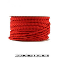 2 Core Twisted Red Vintage Electric fabric Cable Flex 0.75mm - Vintagelite