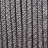 Vintage Black+White+Grey Multi Tweed Fabric 3 Core Round Italian Braided Cable 0.75mm - Vintagelite