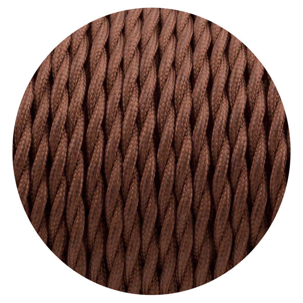 Vintage Brown Twisted Vintage fabric Cable Flex 0.75mm 2 Core