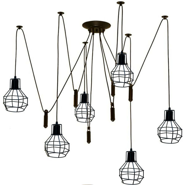 Black Spider Chandelier with Wire Cage 6 Out Let Pendant Light
