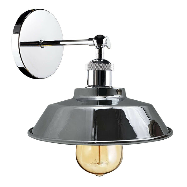 Retro Industrial Chrome colour Wall Sconce Lamp Shade Adjustable Edison Wall Light