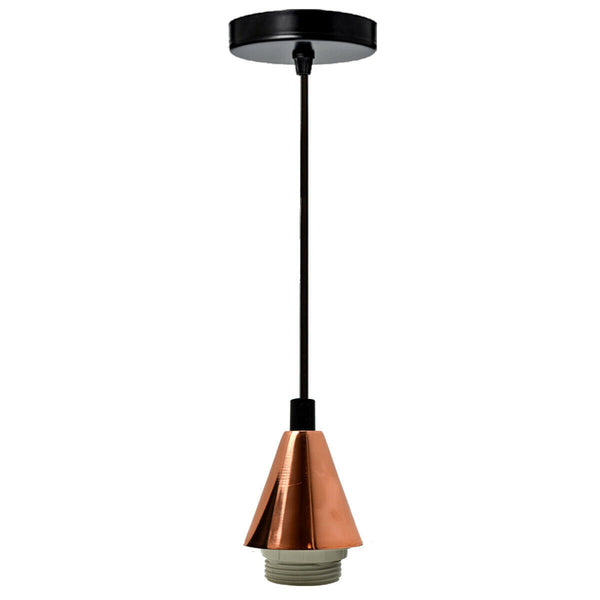 Rose Gold Light Pendant Fitting Ceiling Rose E27 Suspension Fabric Corded Set - Vintagelite
