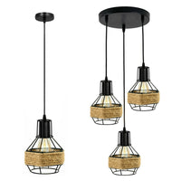 Manila hemp rope rounded wire cage pendant set 3 pendant light ceiling fitting