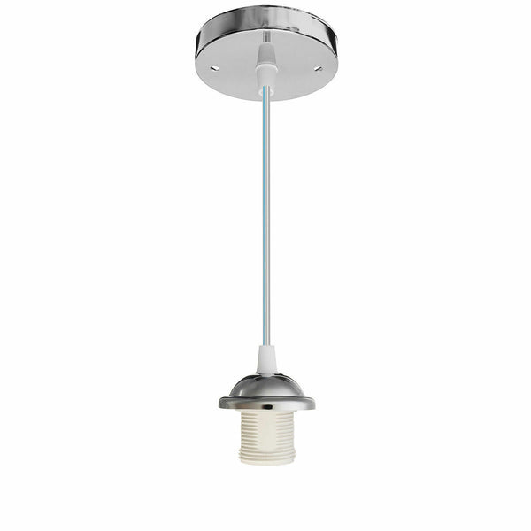 E27 Ceiling Rose Light PVC Fabric Flex Pendant Chrome Lamp Holder Fitting - Vintagelite