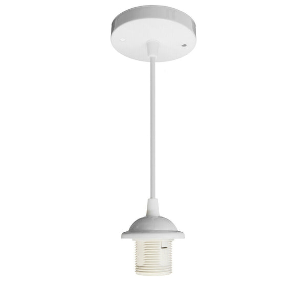 E27 Ceiling Rose White Light PVC Fabric Flex Pendant Lamp Holder Fitting - Vintagelite