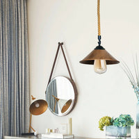 Brushed Copper Cone Lamp Shade With Hemp Pendant