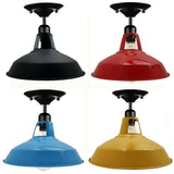Modern Vintage Industrial Flush Mount Metal Fitting Scones Ceiling Light Shade with Screw E27 Bulb