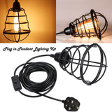 Wire Cage Plug In Pendant Lamp Light PVC Flex Cable kit UK Plug Lighting Set E27 Fitting
