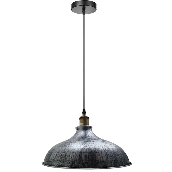 Brushed Silver Metal Industrial Hanging Pendant Lighting Adjustable Hanging Barn Light