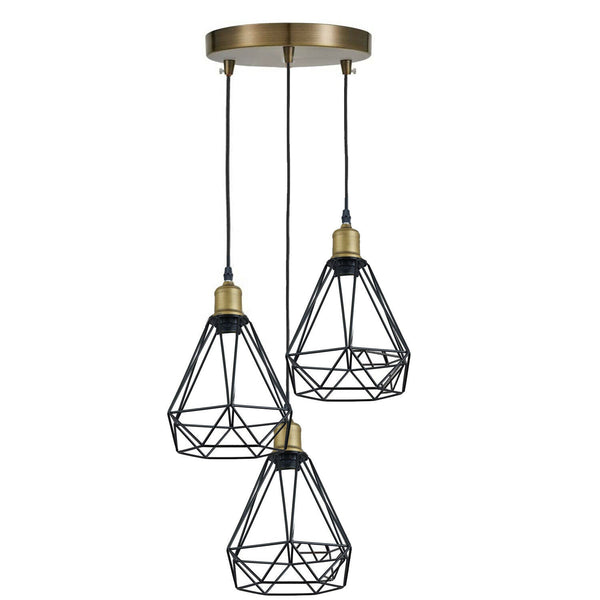 Vintage Brass Industrial Suspended Ceiling Pendant 3 Head Light Lampshade Light