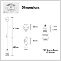 Grey Color Dimmer Switch 4.5m Fabric Flex Cable Plug In Pendant Lamp E27 Holder
