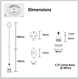 Rose Gold Color Dimmer Switch 4.5m Fabric Flex Cable Plug In Pendant Lamp E27 Holder