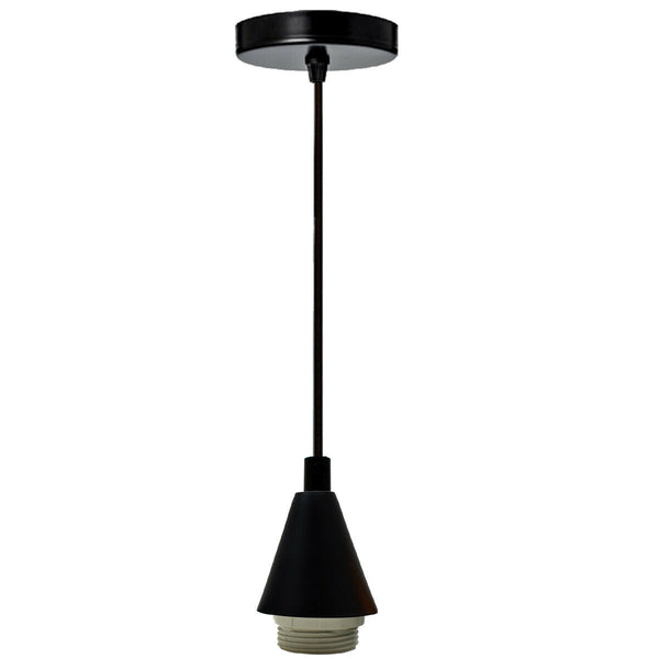 Black Cone Holder Light Pendant Fitting Ceiling Rose E27 Suspension Fabric Corded Set - Vintagelite