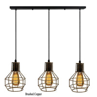 Industrial Retro Suspended Ceiling Pendant Light Fitting Metal Cage Vintage Loft