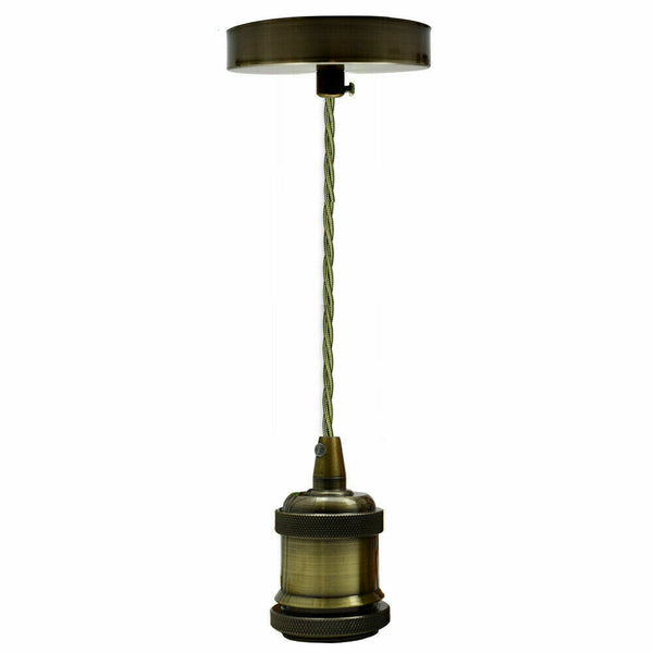Pendant Light Fitting Ceiling Rose E27 Suspension Set Fabric Corded Green Brass - Vintagelite